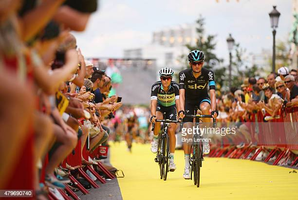 Wouter Poels of the Netherlands and Team Sky rides past the crowds ahead of the start of stage three of the 2015 Tour de France a 1595 km stage...