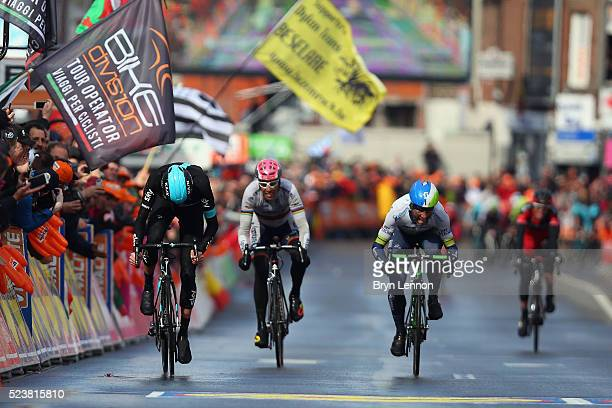 Wouter Poels of The Netherlands and Team SKY sprints for the finishline on his way to winning the 102nd Liege-Bastogne-Liege, a 253 km road race, on...