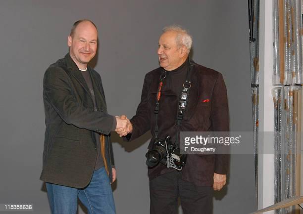 Wouter van Leeuwen curator and Ron Galella at the Koss Breukel Studio in Amsterdam