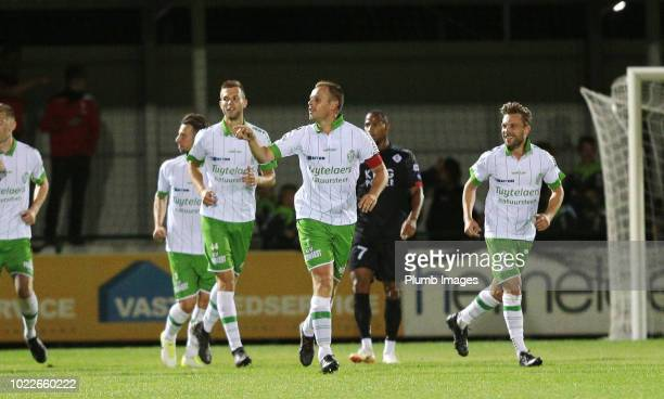 Wouter Vosters of Dessel Sport celebrates after scoring to make it 31 during the Corky Cup tie between KFC Dessel Sport and OH Leuven at Armand Melis...
