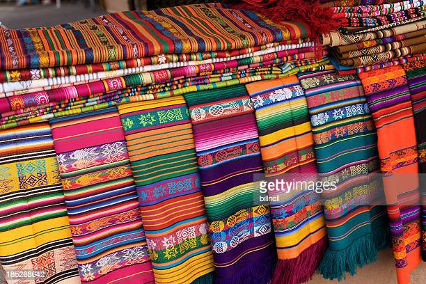 woven blankets for sale in santa fe, new mexico - santa fe new mexico stock pictures, royalty-free photos & images