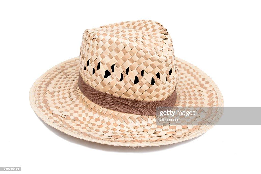 woven fashion hat on white background : Stock Photo