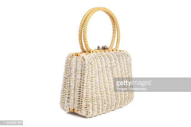 woven purse isolated on white background - wicker stock pictures, royalty-free photos & images