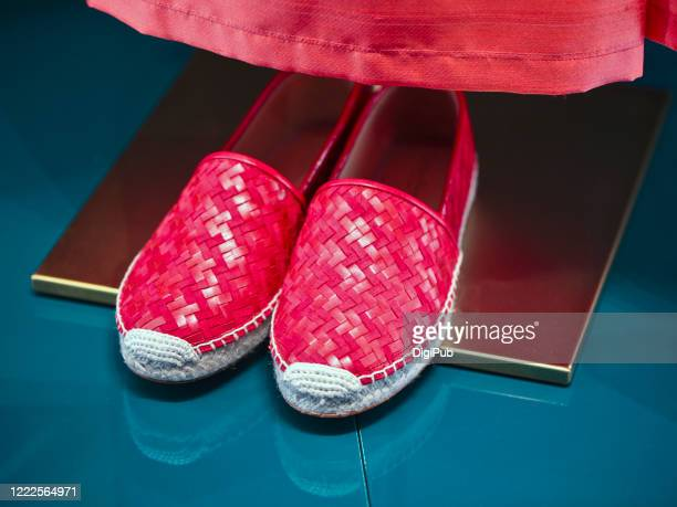 woven red shoes, linen and leather - red shoe stock pictures, royalty-free photos & images