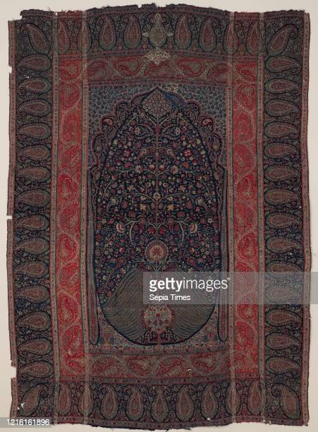 Woven Wall Hanging, ca. 1820-30, Attributed to India, Kashmir, Wool, metal wrapped thread; double interlocking twill; tapestry weave, embroidered,...