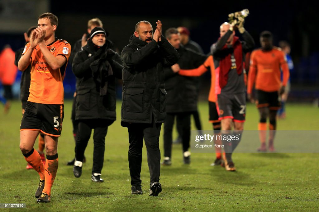 Woverhampton Wanderers Manager Nuno Espirito Santo celebrates victory during the Sky Bet Championship match between Ipswich Town and Wolverhampton Wanderers at Portman Road on January 27, 2018 in Ipswich, England.