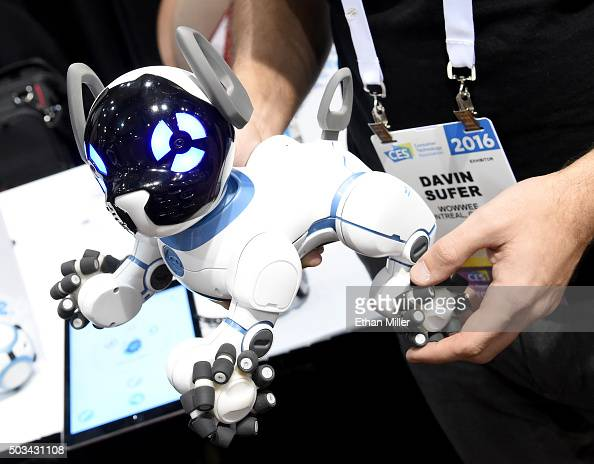 WowWee's CHiP robot dog is displayed during a press event