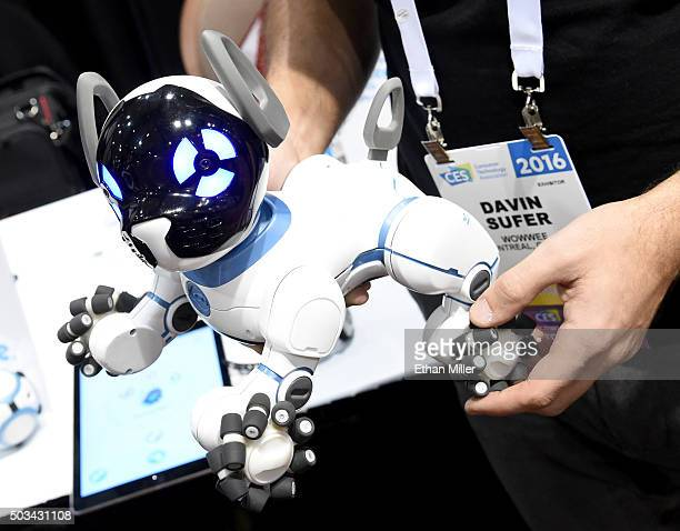 WowWee's CHiP robot dog is displayed during a press event for CES 2016 at the Mandalay Bay Convention Center on January 4 2016 in Las Vegas Nevada...