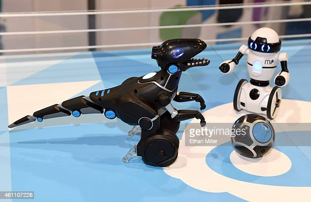WowWee's new MiPosaur smart robotic creature and the MiP balancing commercial robot are displayed at the 2015 International CES at the Sands Expo and...