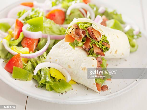 BLT Wrap Sandwich with a Salad