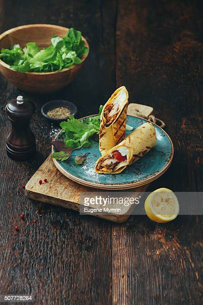 Wrap sandwich with chicken and vegetables