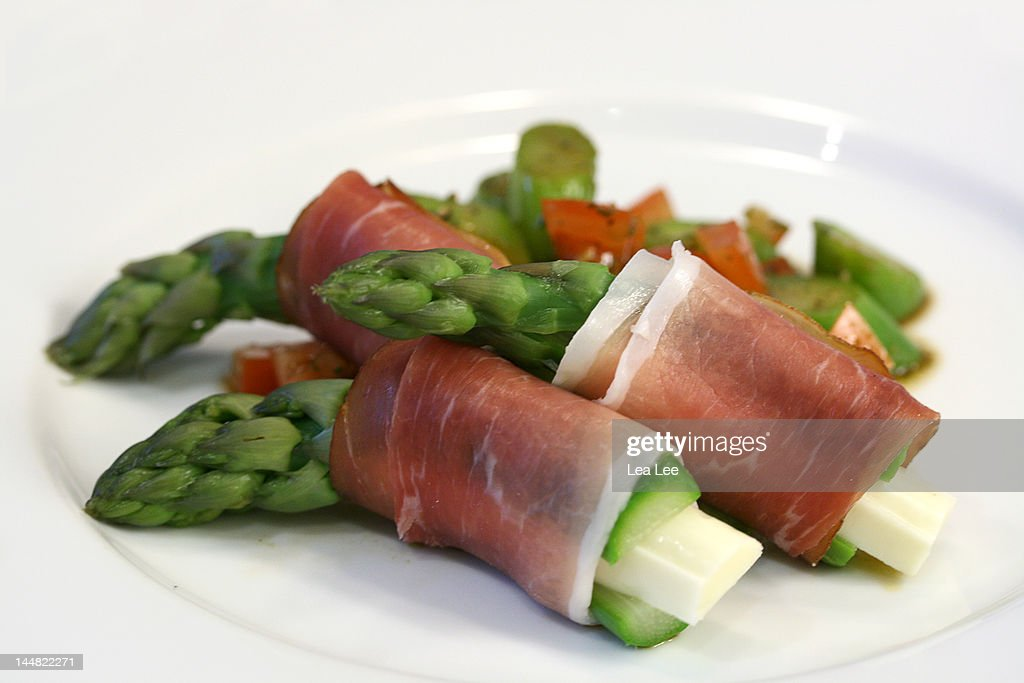 Wrapped asparagus : Stock Photo