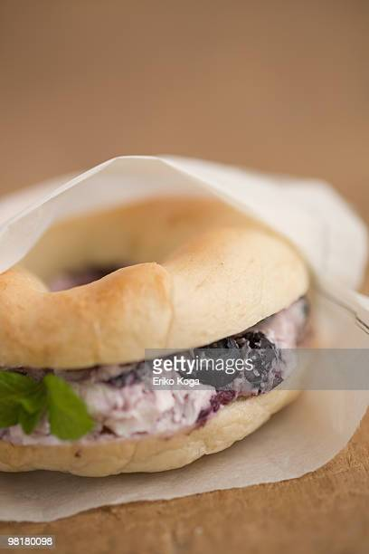 Wrapped blueberry cream cheese bagel sandwiches