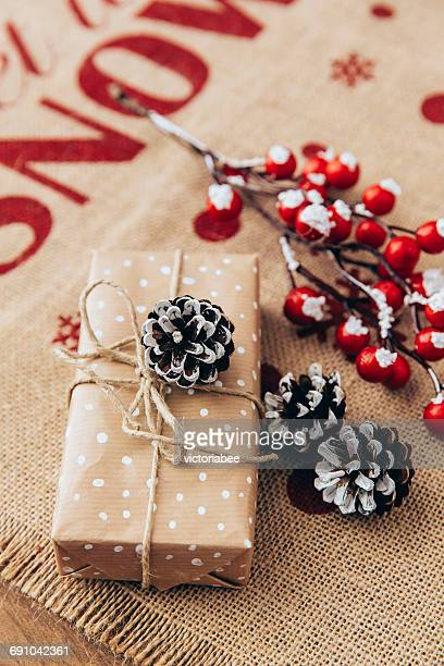 Wrapped Christmas gift with decorations