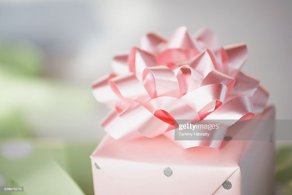 Wrapped Gift with a Pink Bow : Stock Photo
