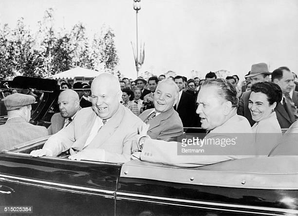 Wrapped in smiles, Communist Party leader Nikita Khrushchev, Soviet President Kliment Voroshilov, Yugoslav President Josip Tito and his wife, Jovanka...