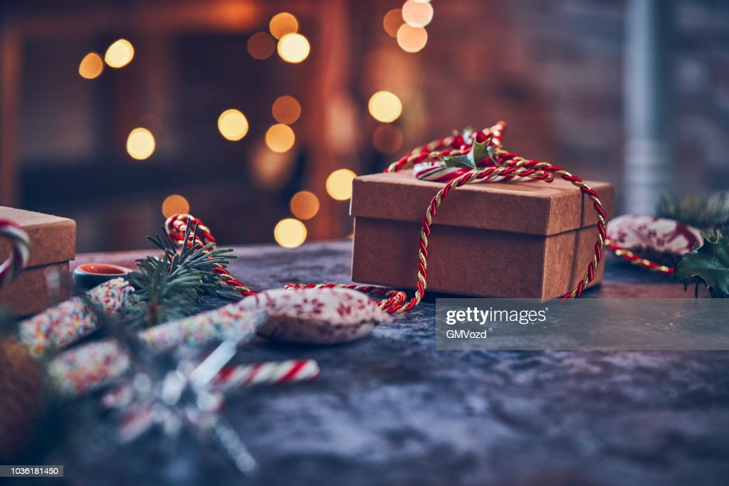 Wrapping and Decorating Christmas Presents : Stock Photo
