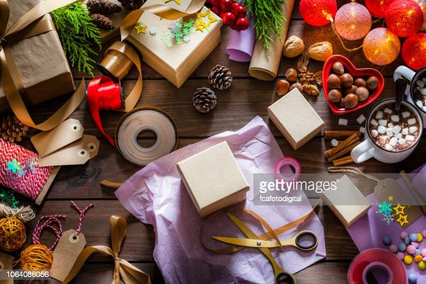 wrapping christmas presents - craft stock pictures, royalty-free photos & images