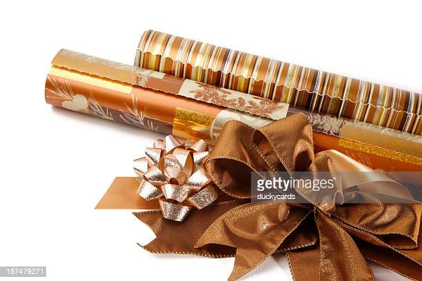 Wrapping Paper Rolls with Bows and Ribbons