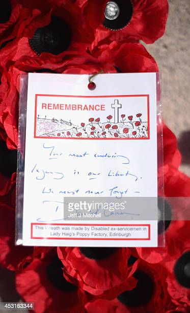 A wreath and message laid by Prime minister David Cameron at the cenotaph in George Square to mark the centenary of the outbreak of World War One on...