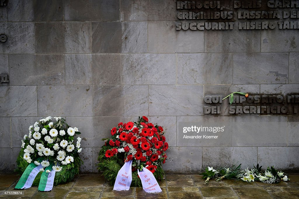 Wreath are seen in front of a memorial plaque during a ceremony to commemorate the 70th anniversary of the liberation of the Bergen-Belsen concentration camp at the former camp site on April 26, 2015 near Lohheide, Germany. An estimated 70,000 inmates died at the hands of the Nazis at Bergen-Belsen during World War II, including Jews and Soviet prisoners of war. Most famous among the victims is Anne Frank, who died at Bergen-Belsen of typhus shortly before the liberation by British troops in April, 1945.