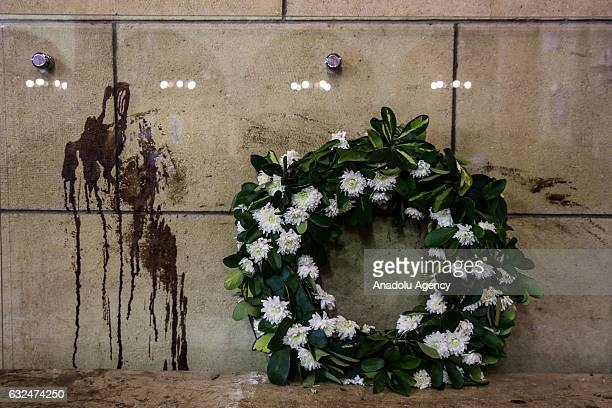 A wreath during a mass in memory of the victims of the explosion at Saint Peter and Saint Paul Coptic Orthodox Church on the 40th day after the...