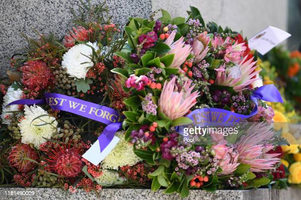 A wreath during a Remembrance Day Service in Martin Place Sydney Monday November 11 2019 At the 11th hour on the 11th day of the 11th month...