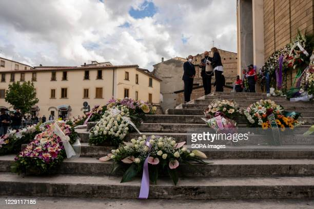 Wreath flowers are seen outside St. Nicholas Church during the funeral ceremony of the Calabria regional governor Jole Santelli. A funeral ceremony...