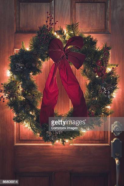 Wreath hanging on door
