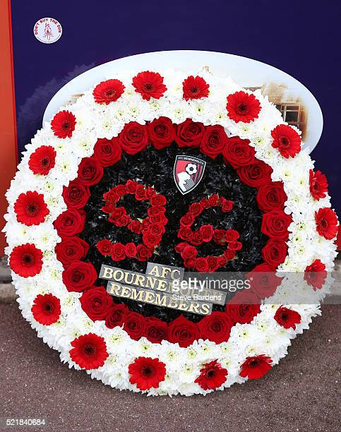 Wreath in memory of the Hillborough disaster during the Barclays Premier League match between A.F.C. Bournemouth and Liverpool at the Vitality...
