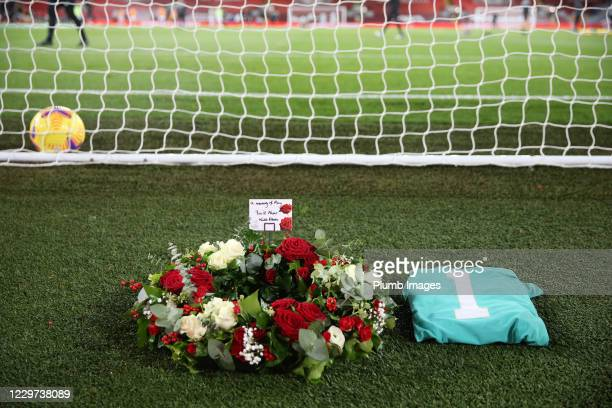 Wreath is laid behind The Kop goal in memory of Ray Clemence ahead of the Premier League match between Liverpool and Leicester City at Anfield on...