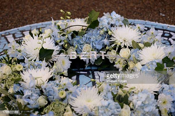 A wreath is laid in memory of Bert Trautmann the former goalkeeper who died in July prior to the Barclays Premier League match between Manchester...