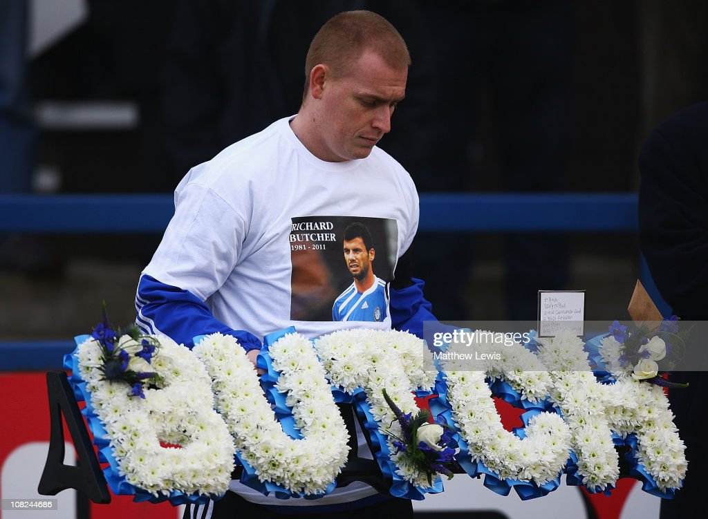 A wreath is layed in memory of former player Richard Butcher during the npower League Two match between Macclesfield Town and Barnet at the Moss Rose Stadium on January 22, 2011 in Macclesfield, England.