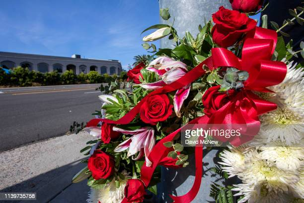Wreath is seen outside the Congregation Chabad synagogue on April 27, 2019 in Poway, California. A gunman opened fire at the synagogue on the last...
