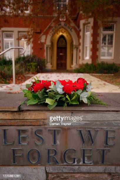 A wreath is seen outside the Kew RSL Club on April 25 2020 in Melbourne Australia Traditional Anzac Day ceremonies have been cancelled due to the...