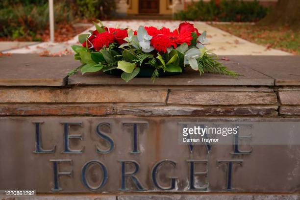 A wreath is seenoutside the Kew RSL Club on April 25 2020 in Melbourne Australia Traditional Anzac Day ceremonies have been cancelled due to the...
