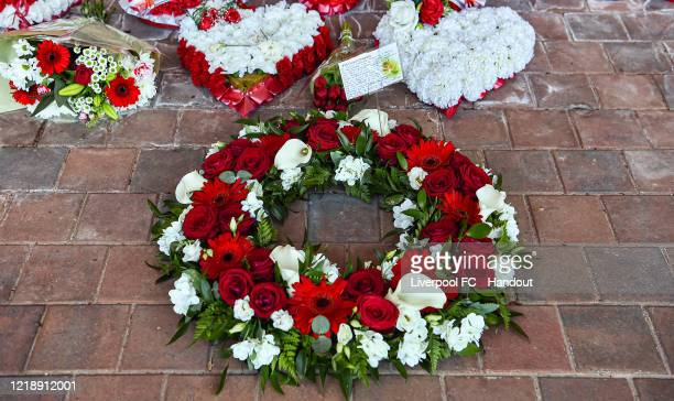 A wreath laid at the Hillsborough Memorial at Anfield on April 15 2020 in Liverpool England