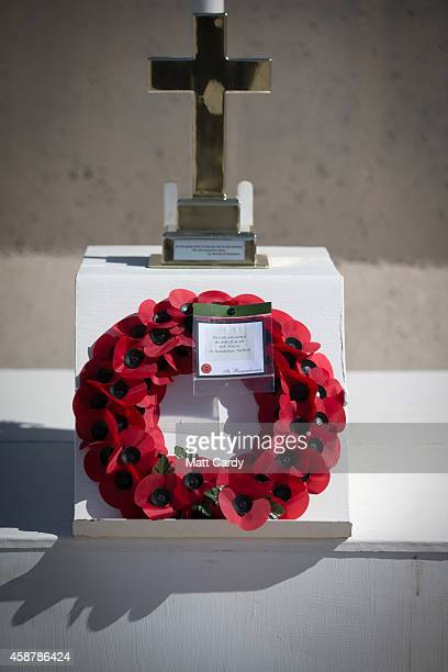 A wreath laid by Brigadier Rob Thomson is seen during a ceremony to mark Armistice Day attended by some of the British troops that still remain in...