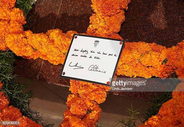 A wreath laid by Catherine Duchess of Cambridge and Prince William Duke of Cambridge at India Gate Memorial on day 2 of the royal visit to India and...