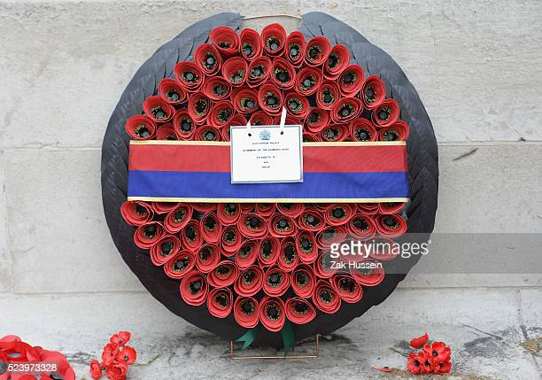 Wreath laid by Prince Harry during a Ceremony and Parade at the Cenotaph to commemorate ANZAC Day on April 25 2016 in London England