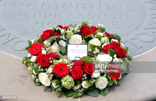 A wreath laid by Prince William Duke of Cambridge before attending a Service of Hope at Westminster Abbey on April 5 2017 in London England The...