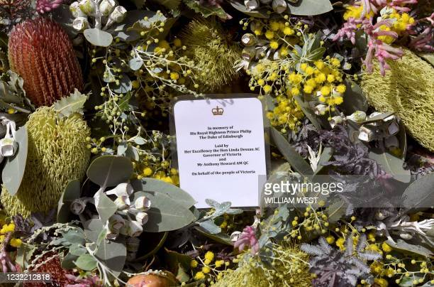 Wreath laid by Victoria's governor Linda Dessau rests outside Government House in Melbourne on April 10, 2021 after the death of Britain's Prince...