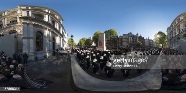 A wreath laying ceremony is held in Whitehall on November 10 2013 in London United Kingdom People across the UK gathered to pay tribute to service...