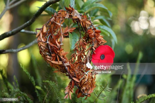 A wreath made from fallen Kauri tree leaves commemorates Anzac Day in a driveway in Titirangi on April 24 2020 in Auckland New Zealand New Zealanders...