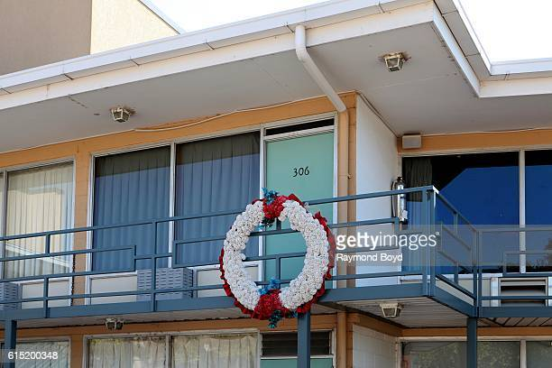 A wreath marks the spot in front of Room 306 where Dr Martin Luther King Jr stood when he was assassinated at the Lorraine Motel which is now the...