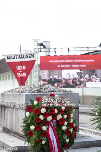 Wreath of flowers is pictured during the International Commemoration and Liberation Ceremony at the Memorial of the former concentration camp in...