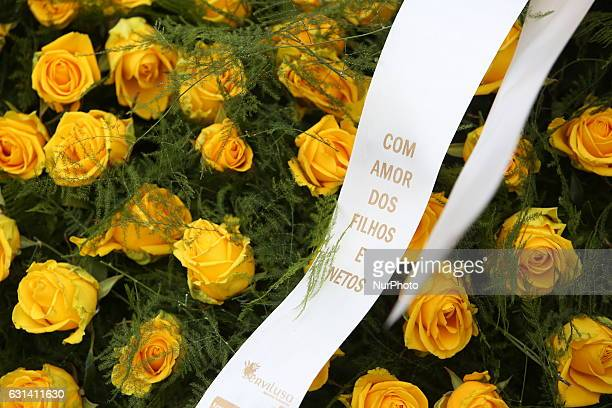 A wreath of flowers laid for late former Portuguese President Mario Soares during his funeral ceremony at the Prazeres cemetery in Lisbon on January...