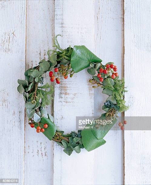Wreath of galax and eucalyptus on wood wall