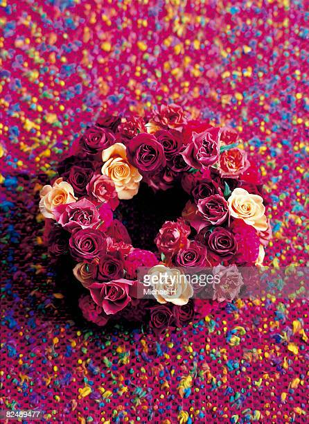 wreath of rose - stiches stock photos and pictures