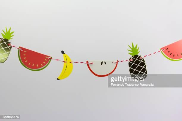 wreath of various fruits, fruit macedonia